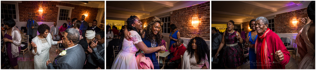 Guests enjoying themselves at wedding reception