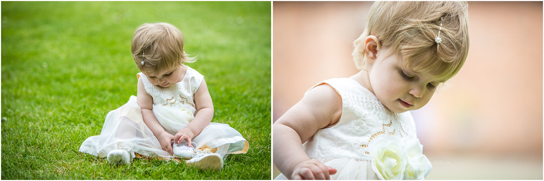 Colour images of flower girl during drinks reception