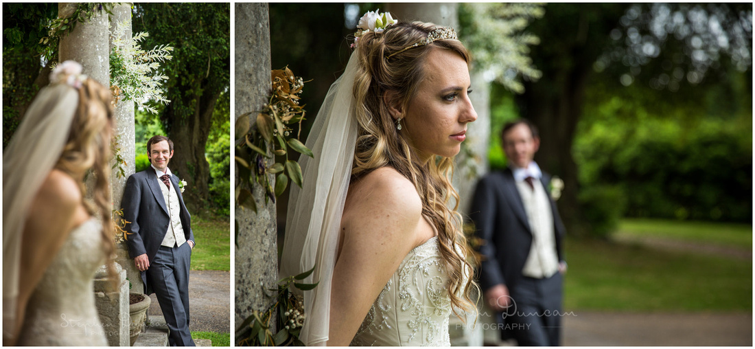 Portraits of bride and groom at the Folly in the hotel grounds