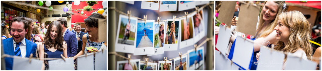Guests find their places with a seating plan which uses an individual photo of every attendee