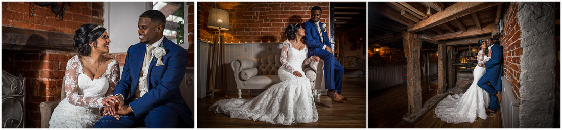 The couple poser in indoor locations at the Christchurch wedding venue