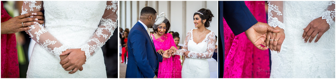The bride's mother passes her hand to the groom