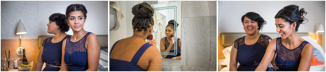 Bridesmaids getting ready in hotel room before marriage ceremony