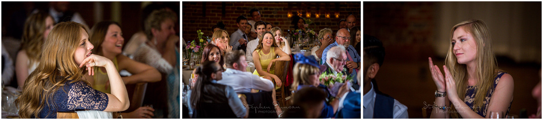 Candid photographs of wedding guests during speeches