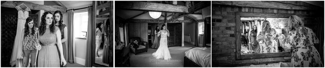 The bridal party getting ready in the main accommodation suite at Wasing Park