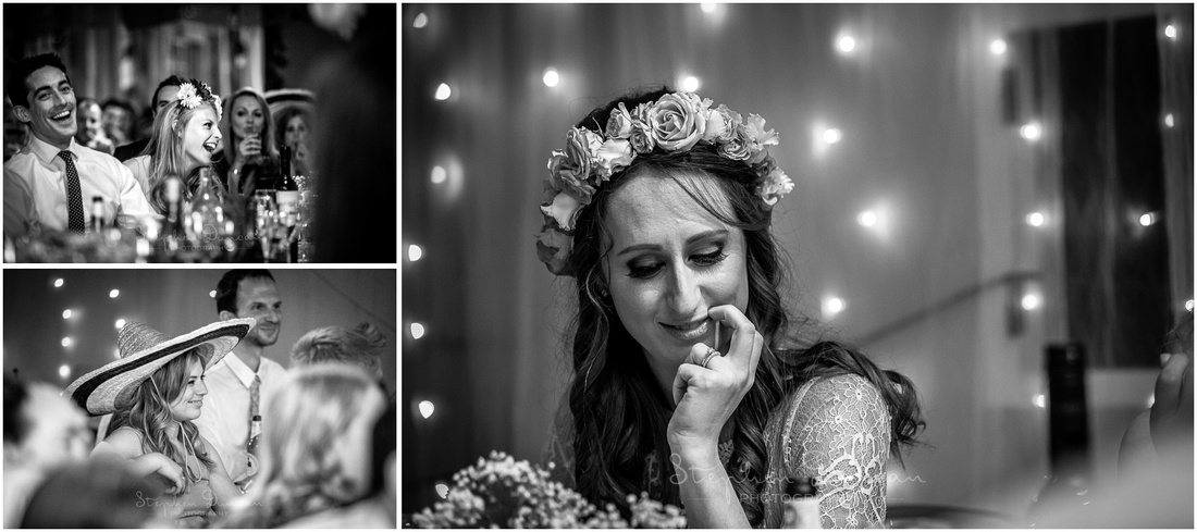 The bride and guests react as the wedding speeches are made