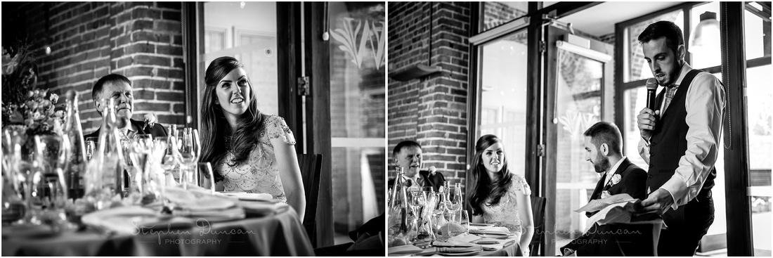 Black and white photographs before wedding breakfast