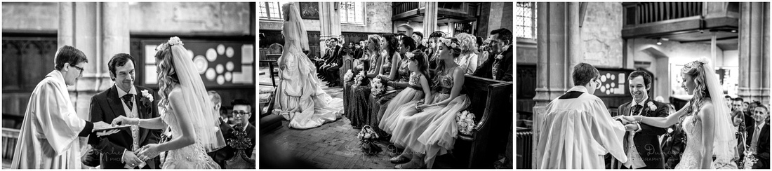 Black and white images of bride and groom exchanging rings and receiving blessing
