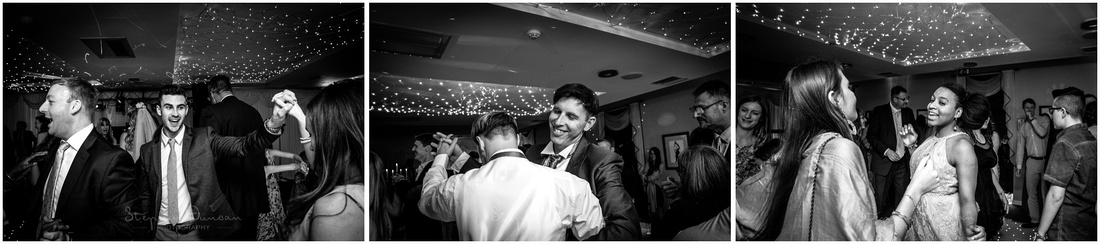 Black and white photographs of guests dancing