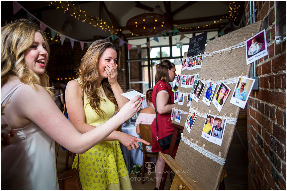 Wedding guests find themselves on the seating plan at the start of the wedding breakfast