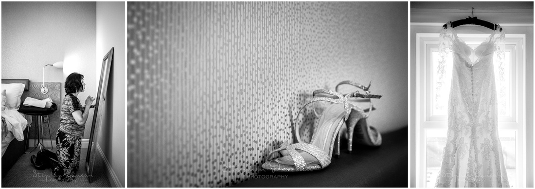 Dress hanging and shoes during preparation in hotel room