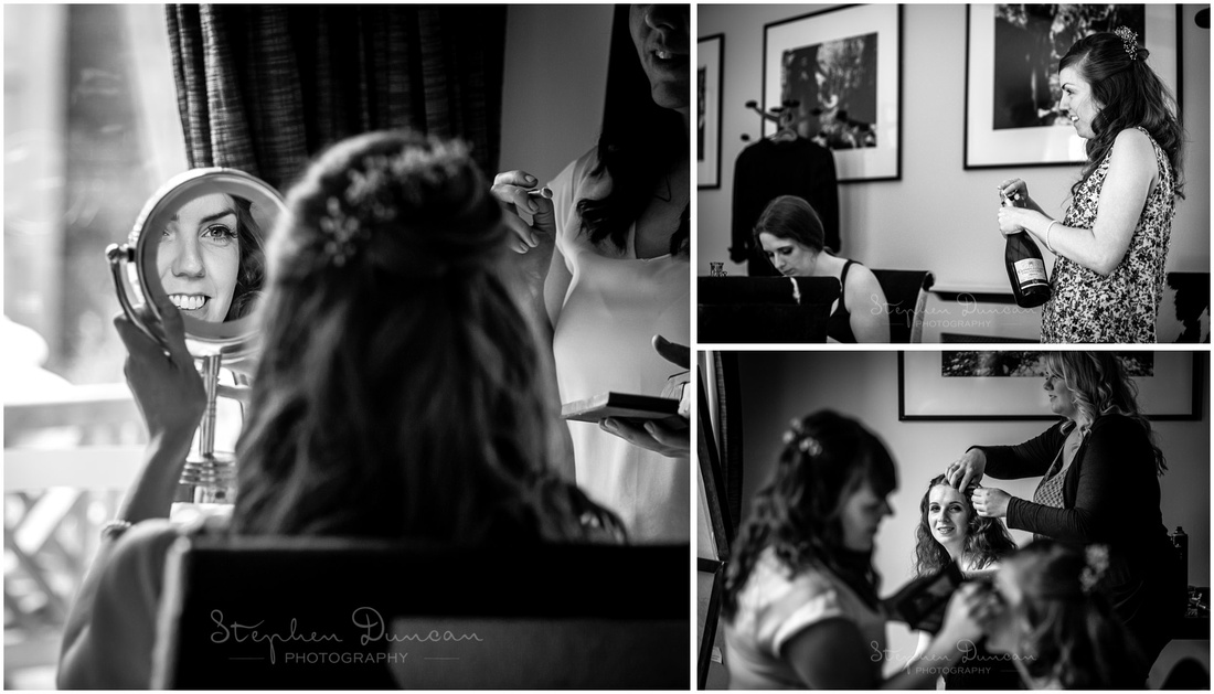 Bride getting ready before wedding ceremony