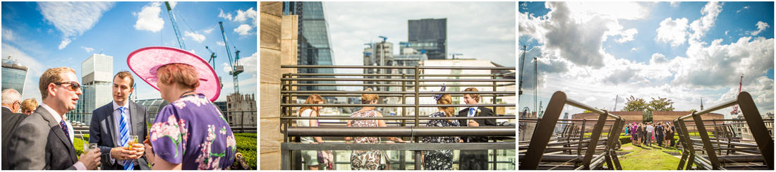 Wedding guests admire the view from the restaurant's rooftop terrace