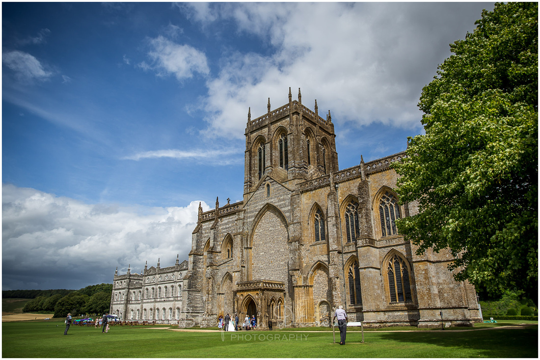 Guests emerge from the Abbey at the end of the wedding service