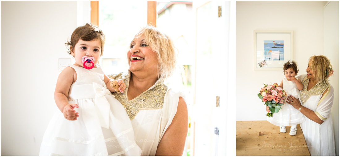 Grandmother and granddaughter share a few moments during the bridal preparations
