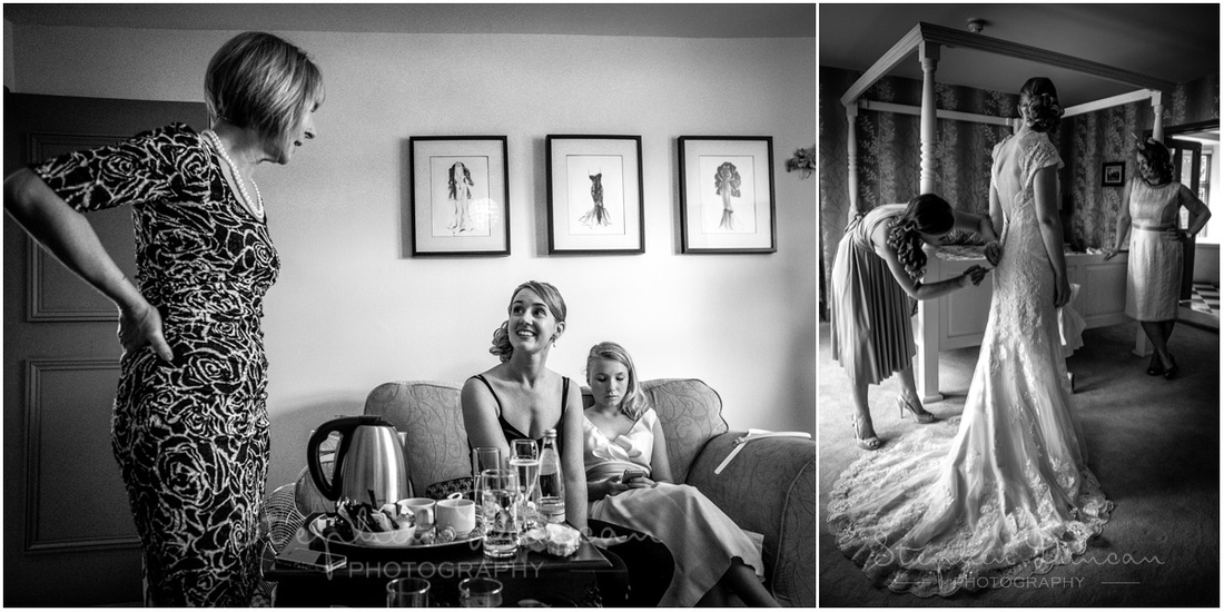 Southdowns Wedding Photography The bride in the preparation room and getting into her dress in the bridal suite