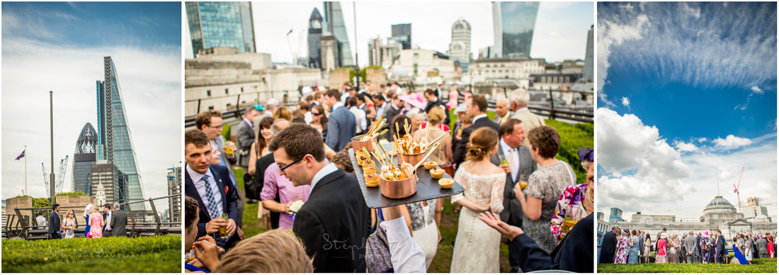 Drinks and canapes served on the rooftop terrace with views across the heart of London