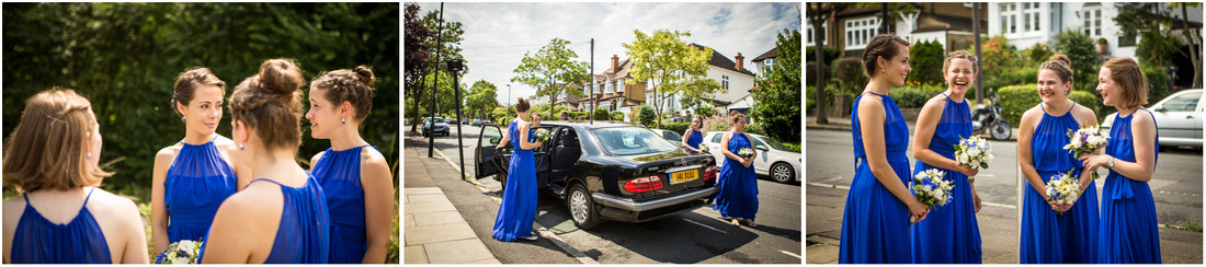 The bridesmaids, wearing blue dresses, arrive and wait outside the church in the strong summer sunshine