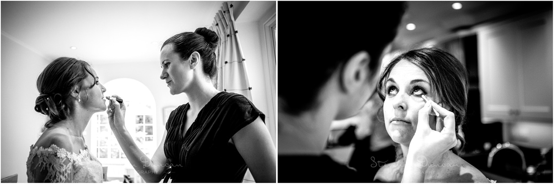 Finishing touches applied to the bride's make-up before leaving for the ceremony