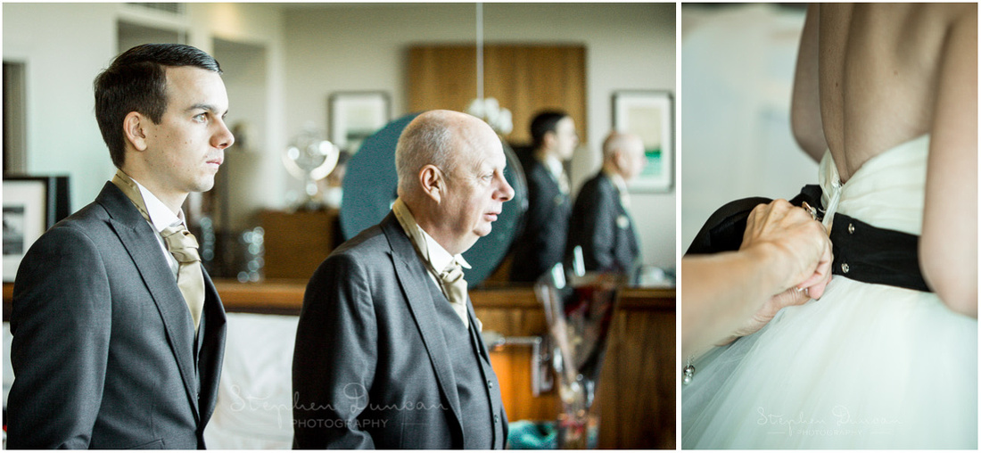 Father and brother of the bide watch on during the bridal preparations