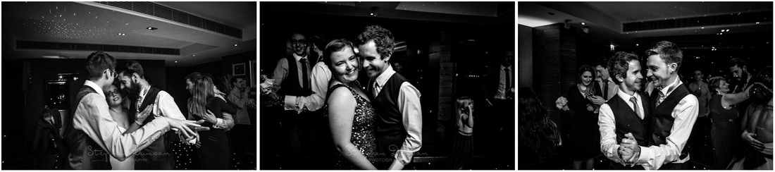 Black and white photos of the evening party