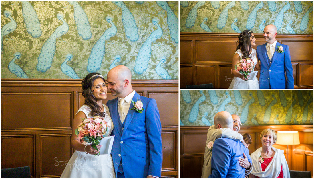 Colour images of bride and groom together during wedding ceremony
