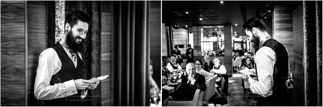 Black and white photo of the best man making his speech