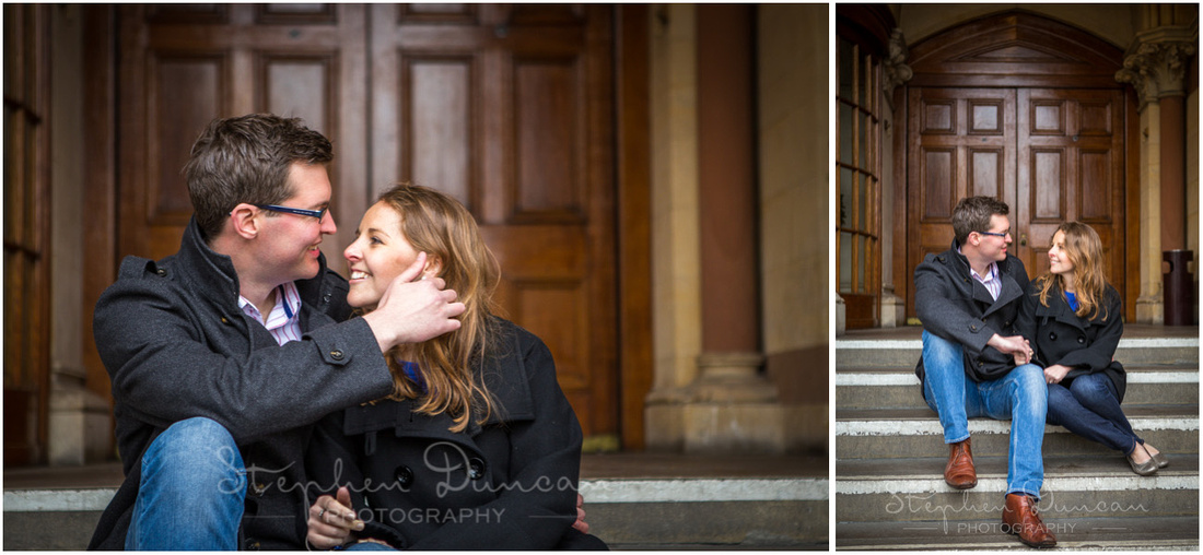 Sat on the steps of Winchester Guildhall (I think there was actually a wedding taking place inside at the time)