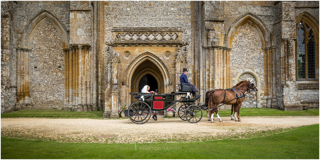 The carriage parks up outside the main entrance to the Abbey