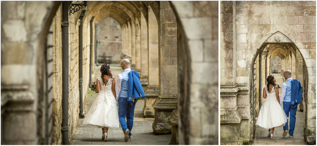 The cloisters are a classic Winchester wedding photo, running down the south side of the Cathedral