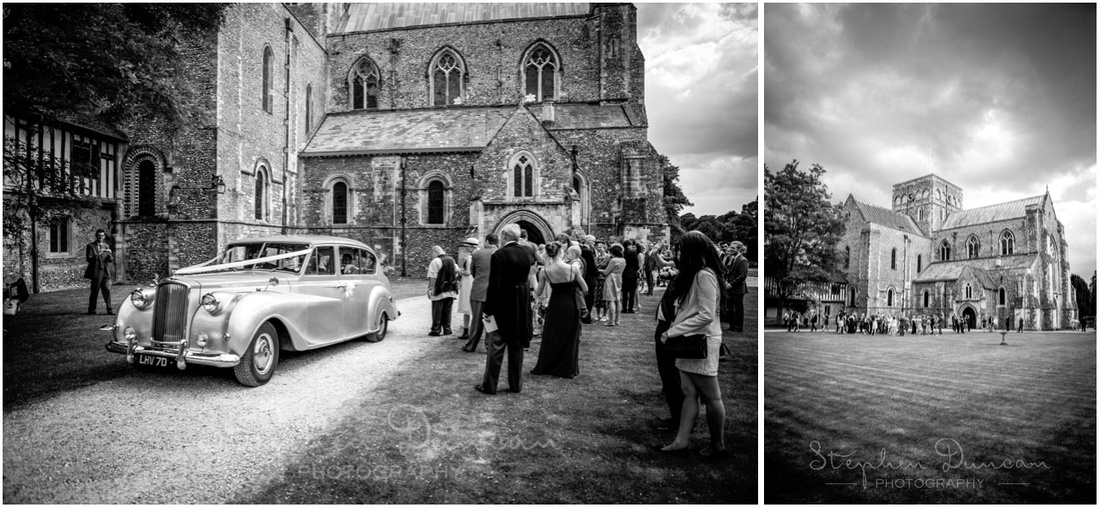 Bride and groom prepare to leave the beautiful setting of the church and almshouse