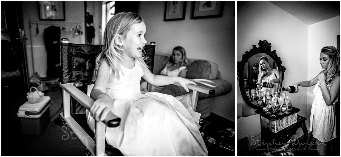 Flower girl in the make-up chair as a bridesmaid gets the champagne flowing