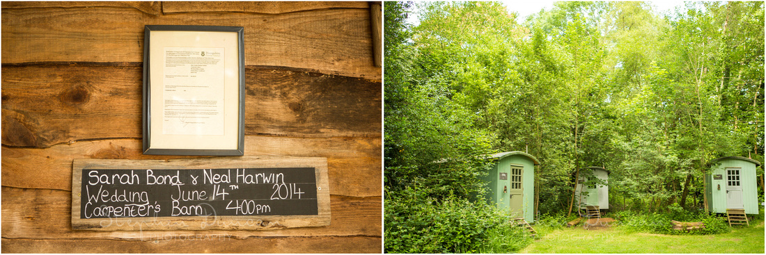 Wedding in the Woods Sign announcing the wedding and some of the huts which serve as on-site accommodation