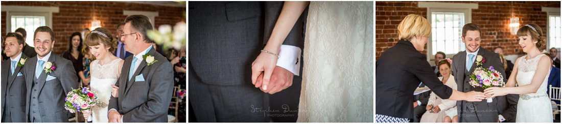 Bride and groom together in the ceremony room for the start of the marriage