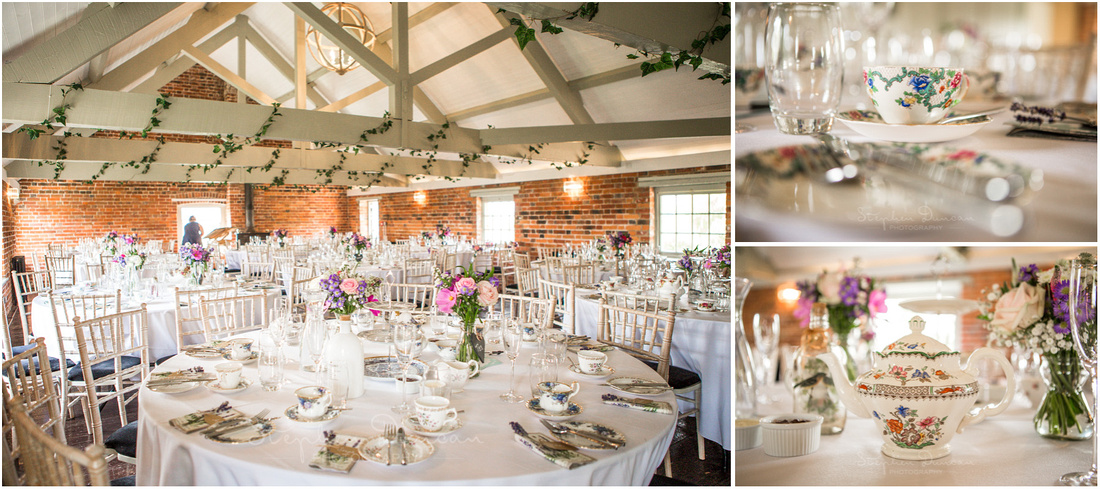 Tables set up for afternoon tea at Sopley Mill
