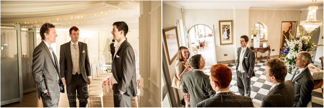 The groom is on hand in the lobby area and ceremony room to greet guests as they arrive for the wedding