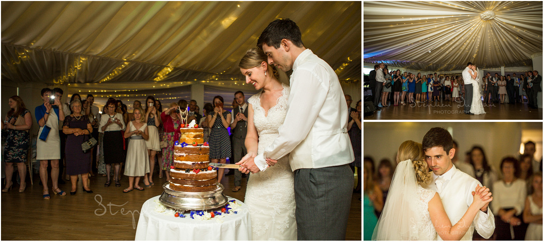 Bride and groom cut the cake and move into the first dance...