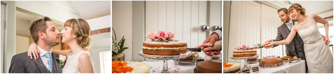Cutting of the cake at Sopley Mill wedding