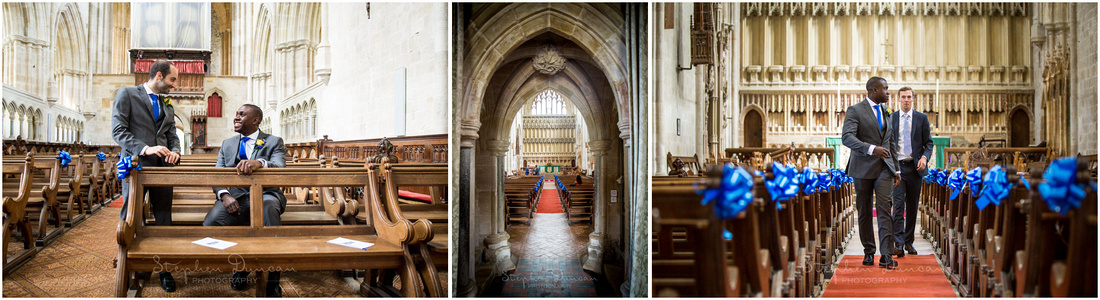 Groom and best man inside Milton Abbey waiting for wedding guests to arrive