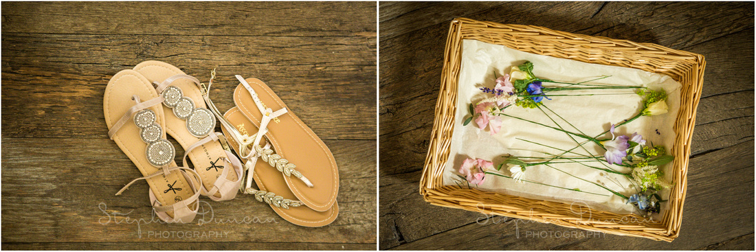 Wedding in the Woods Cool wedding shoes - sandals - and wedding flowers in a basket