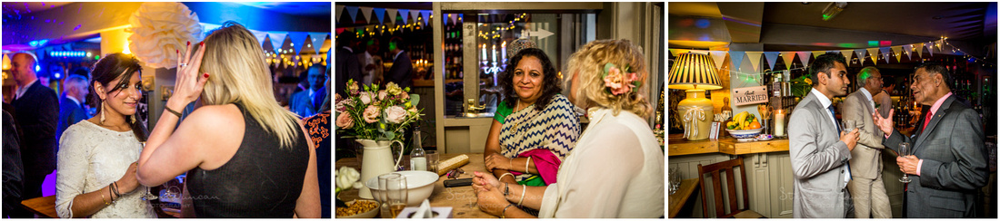 Guests relaxing and meeting friends at reception venue