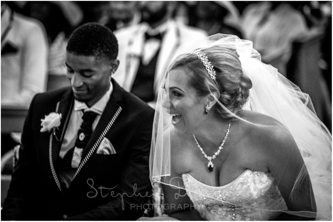 Laughter during the wedding service