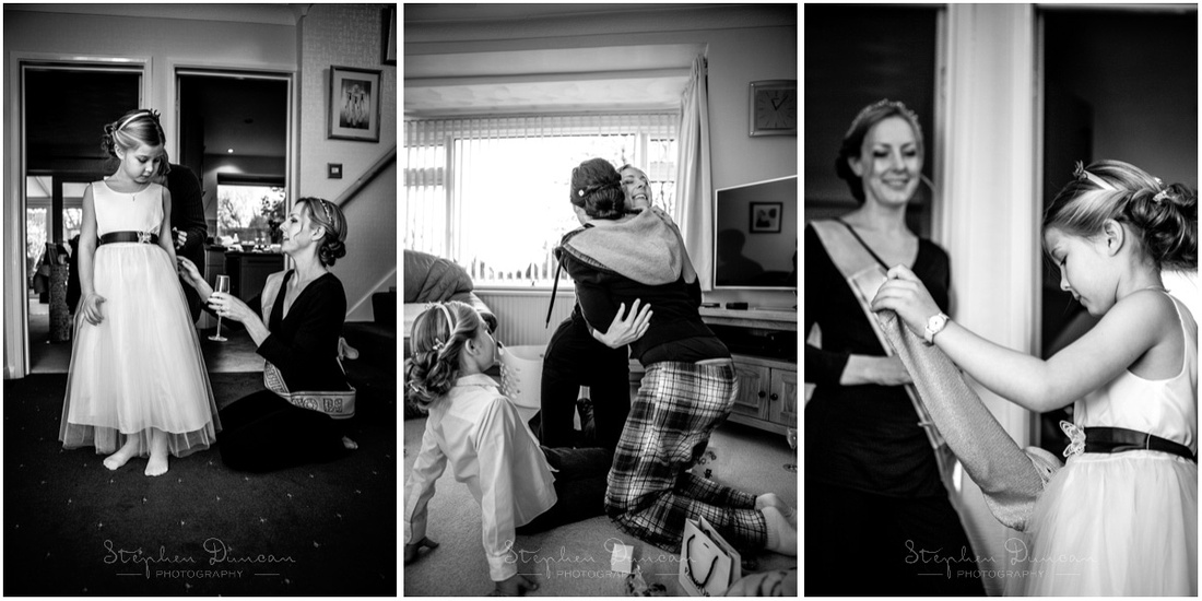 Black and white photos of bride and flower girl during preparations