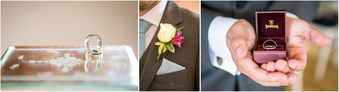 Detail shots of rings and botton-hole at Sopley Mill wedding venue