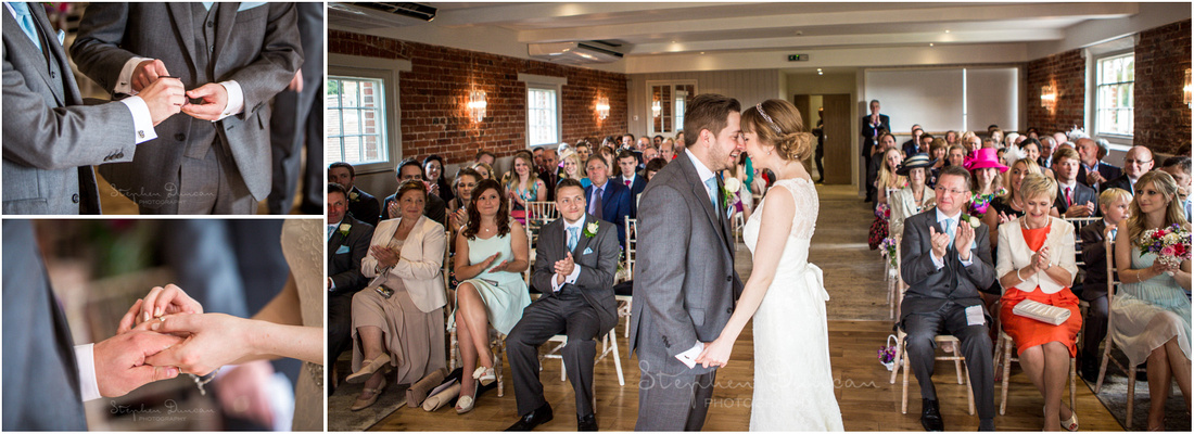 Colour photos of ring exchange during Sopley Mill wedding ceremony