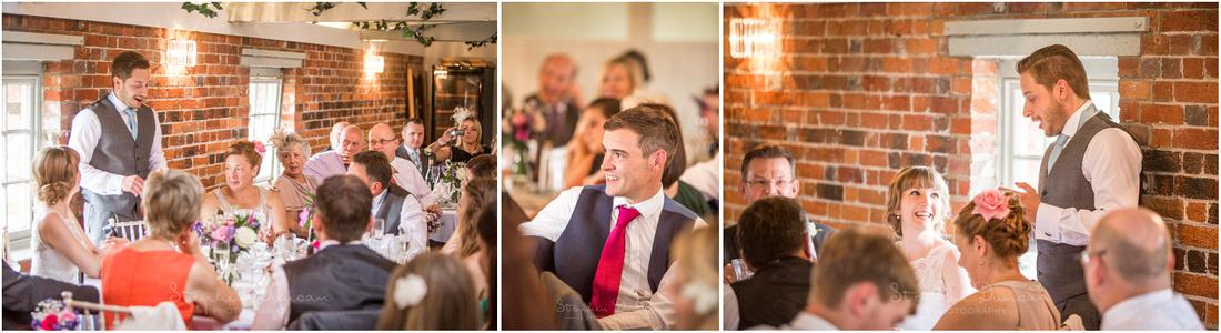Colour photos of groom's wedding speech at Sopley Mill