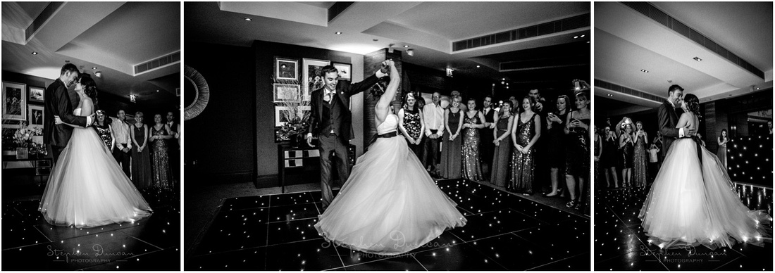 Black and white photos of first dance