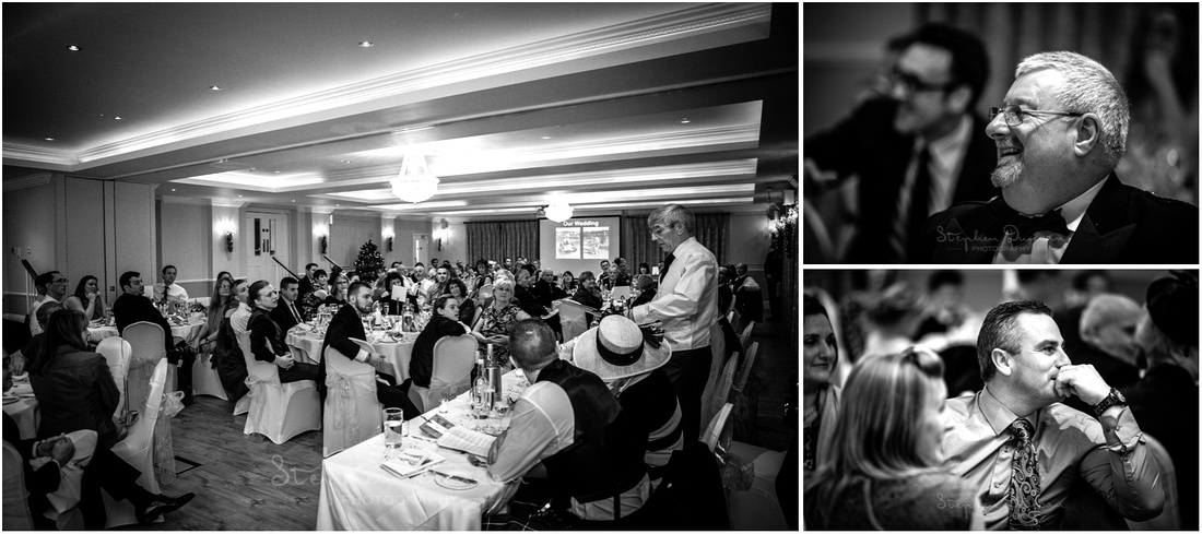 Black and white photos of guests during the speeches