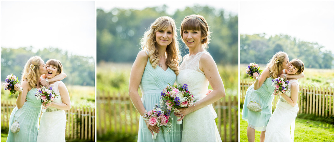 Natural light photos of bride portraits with bridesmaids at Sopley Mill in Dorset
