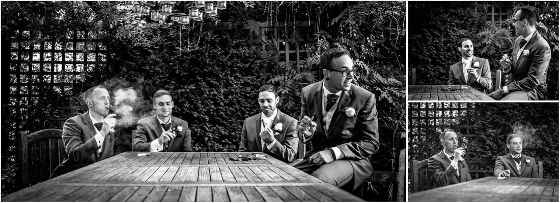 Groom, best man and ushers enjoy a well-earned cigar on the terrace